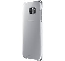 Чехол-крышка Samsung Clear Cover для Galaxy S7 Edge, поликарбонат, прозрачный (серебристая рамка)